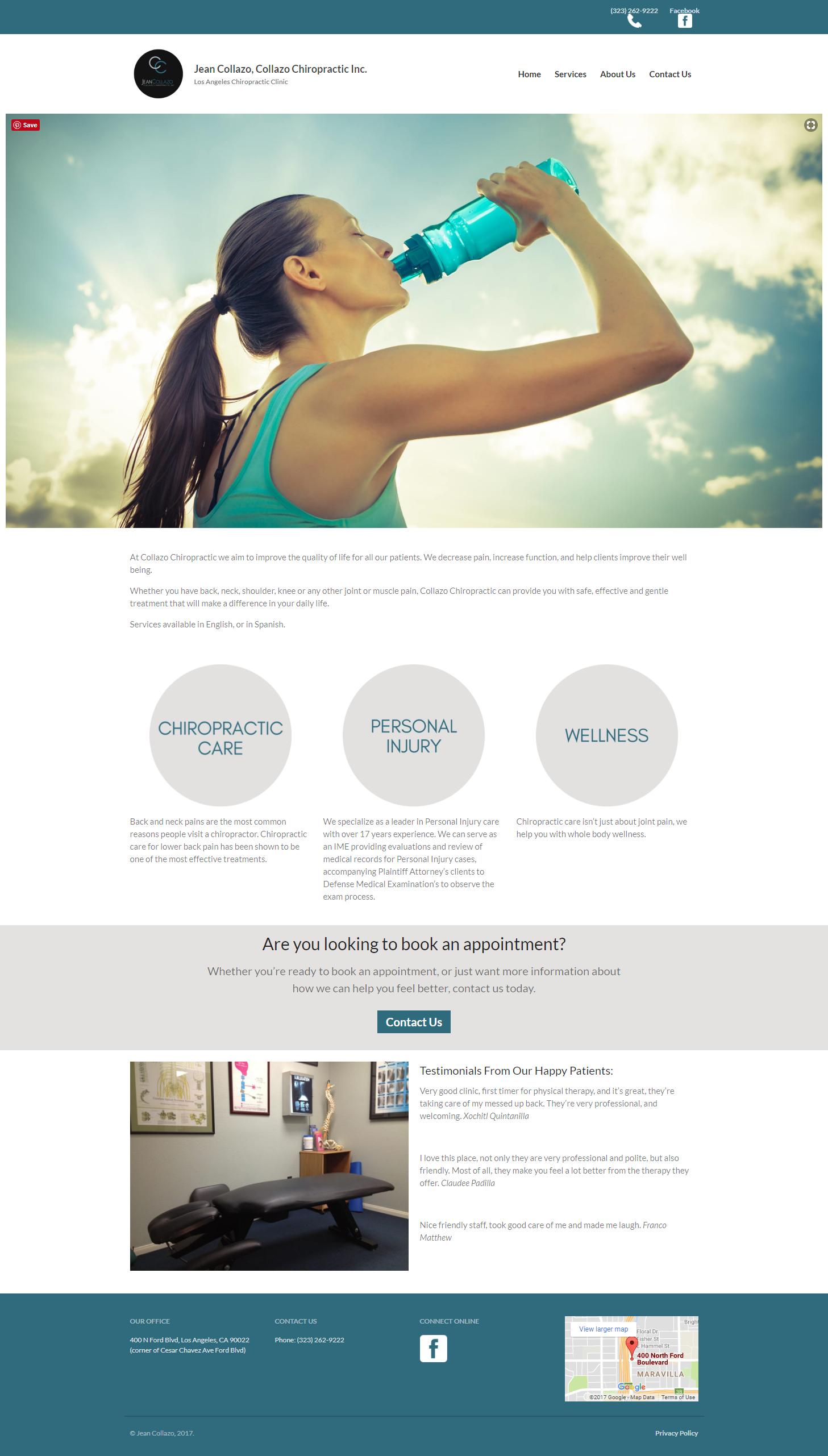 Collazo Chiropractic Inc website screenshot